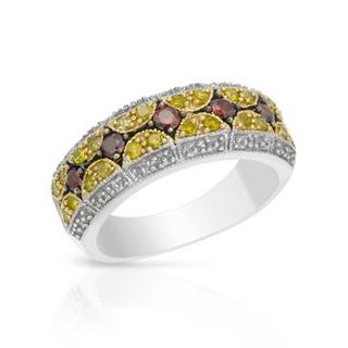 Ring with 0.50ct TW Genuine Fancy Dark Red enhanced, Fancy Intense Yellow enhanced Diamonds in 925 S