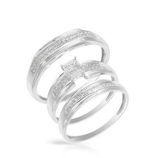 14k White Gold Matching His and Hers Diamond Wedding Ring Set