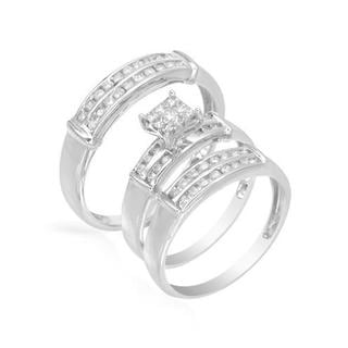 14k White Gold 0 3/4ct TW Diamond Matching His and Hers Wedding Ring Set