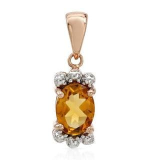 Pendant with 1.4ct TW Citrine in Two-tone Gold