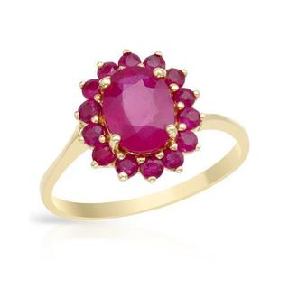 Ring with 2.40ct TW Genuine Rubies in Yellow Gold