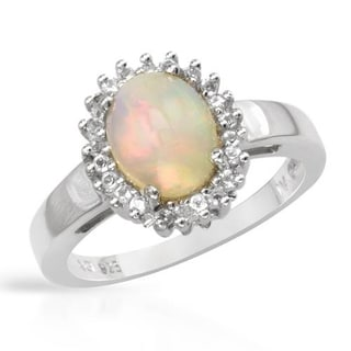 Ring with 1.92ct TW Opal and Topazes 925 Sterling Silver