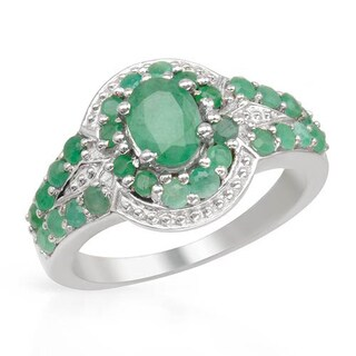 Ring with 1.89ct TW Emeralds in 925 Sterling Silver