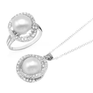Jewelry set - Necklace with 3ct TW Cubic Zirconia and 11mm Freshwater Pearl in .925 Sterling Sil