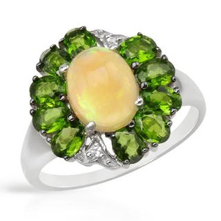 Ring with 3.19ct TW Diopsides, Opal and Topazes in 925 Sterling Silver