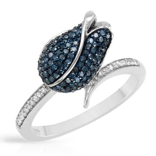 Ring with Genuine Diamonds in White Gold