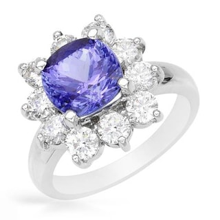 Cocktail Ring with 4.7ct TW Diamonds and Tanzanite Crafted in 14K White Gold