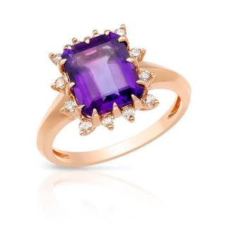 Ring with 3.15ct TW Amethyst and Diamonds in 14K Rose Gold