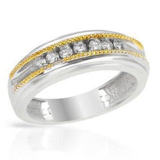 Two-tone Gold Diamond Wedding Band