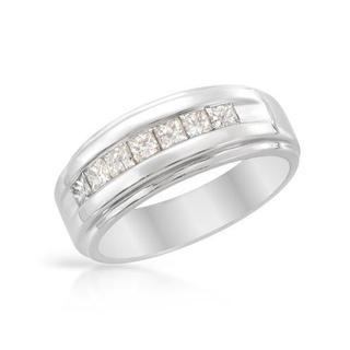 14k White Gold 0.65ct TDW Princess-cut Diamond Wedding Band