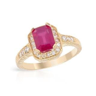 Foreli Cocktail Ring with 2.31ct TW Diamonds and Composite Ruby Crafted in 14K Yellow Gold