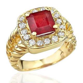 Foreli Cocktail Ring with 4.65ct TW Diamonds and Composite Ruby in 14K Yellow Gold
