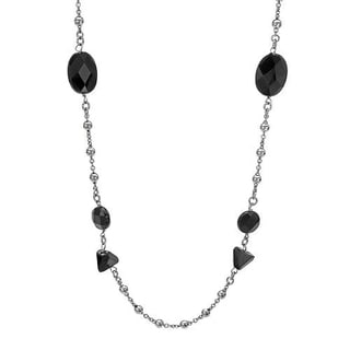 DV Italy Sterling Silver Simulated Onyx Beaded Necklace