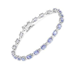 Tennis Bracelet with 6.60ct TW Genuine Tanzanites 925 Sterling Silver