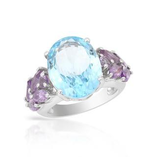 Ring with 12.61ct TW Amethysts and Topaz .925 Sterling Silver