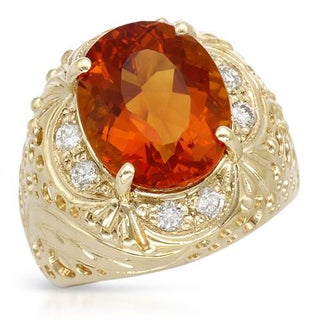 Cocktail Ring with 5 1/2ct TW Citrine and Diamonds in 14K Yellow Gold