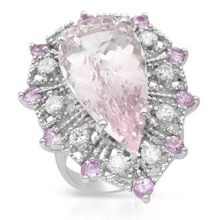 Cocktail Ring with 15.65ct TW Diamonds, Morganite and Sapphires in 14K White Gold