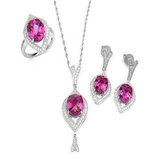 Celine F Jewelry set - Earrings with 24.2ct TW Cubic Zirconia and Created Sapphires in 925 Sterling