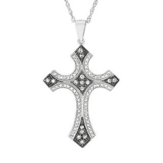 .925 Sterling Silver Cross Necklace with 1 1/2ct TW Diamonds