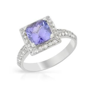 Ring with 2.55ct TW Diamonds and Tanzanite in 14K White Gold