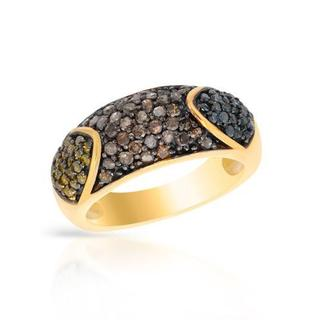 Ring with 0.99ct TW , Diamonds 14K/925 Gold-plated Silver