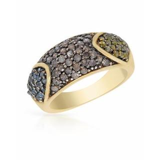 Ring with 0.59ct TW , Diamonds in 14K/925 Gold-plated Silver