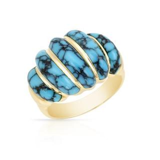 Pre-owned Kabana 18k Yellow Gold Turquoise Ring