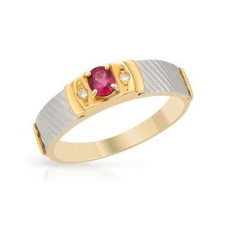 Ring with 0.25 ct TW Diamonds and Ruby in 900/18K Platinum and gold
