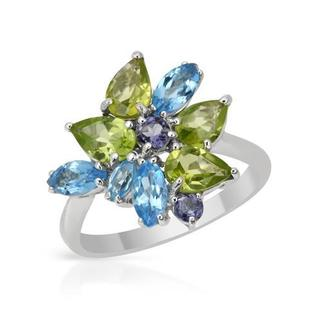 Ring with 3.3ct TW Iolites, Peridots and Topazes 18K White Gold