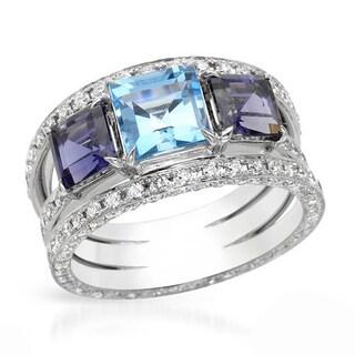 SALAVETTI Ring with 5.20ct TW Genuine Diamonds, Iolites and Topaz 18K White Gold