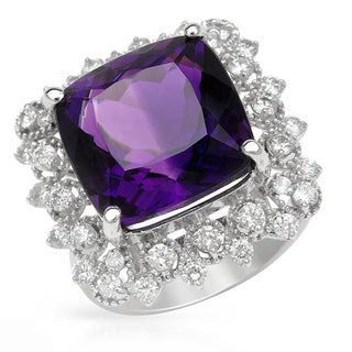 Cocktail Ring with 11.65ct TW Amethyst and Diamonds Crafted in 14K White Gold