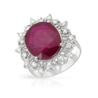 Cocktail Ring with 9.02ct TW Diamonds and Composite Ruby of 14K White Gold