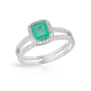Ring with 0.97ct TW Diamonds and Emerald 14K White Gold