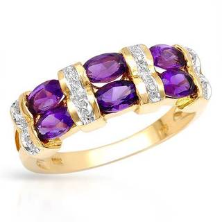Ring with 2.00ct TW Genuine Amethysts and Diamonds in Yellow Gold