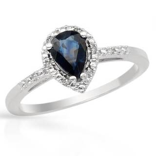 Ring with 0.91ct TW Genuine Diamonds and Sapphire in 14K White Gold