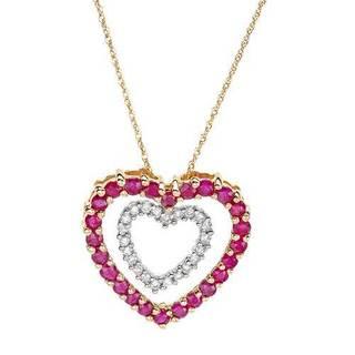 14k Yellow Gold 1.2 TDW Diamond Heart Necklace with Rubies (H-I, I1-I2)