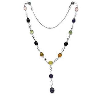 Necklace with 197.6ct TW Amethysts, Chalcedonies, Iolites, Prehnites and Quartz in 925 Ster