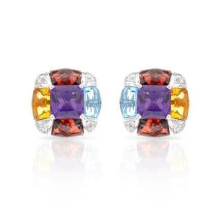 Earrings with 18 3/4ct TW Amethysts, Citrines, Diamonds, Garnets and Topazes in 14K White Gol