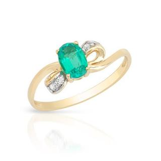 Ring with 0.72ct TW Diamonds and Created Emerald Crafted in 14K Yellow Gold