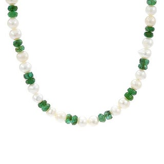 YAGI Necklace with 14.58ct TW Emeralds and 5.0-6.0mm Freshwater Pearls in 925 Sterling Silve