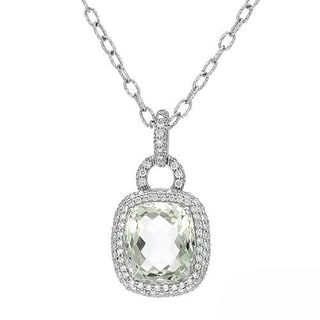 ZOCCAI Necklace with 11.92ct TW Genuine Amethyst and Diamonds in 18K White Gold