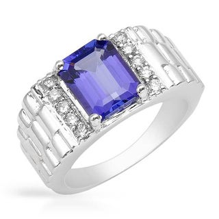 Ring with 2.63ct TW Diamonds and Tanzanite Crafted in 14K White Gold