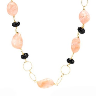 Enzo Liverino Italy Necklace with Corals/ Onyxes 18K Yellow Gold