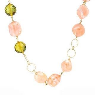 ENZO LIVERINO Necklace with 37.60ct TW Genuine Ambers and Corals in 18K Yellow Gold