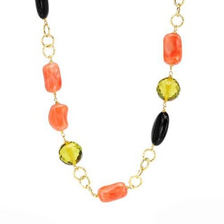 ENZO LIVERINO Necklace with 23.70ct TW Genuine Ambers, Corals and Onyxes 18K Yellow Gold