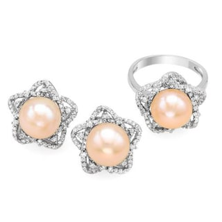 Sterling Silver Freshwater White Pearl and Cubic Zirconia Earrings (10mm)
