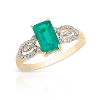 Celine F Ring with 1.35ct TW Diamonds and Created Emerald in 14K Yellow Gold