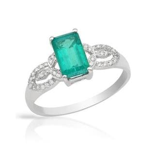 Celine F Ring with 1.35ct TW Diamonds and Created Emerald of 14K White Gold