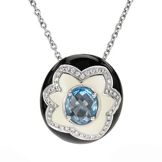 FAVERO Necklace with 6.46ct TW Genuine Diamonds and Topaz Two-tone Enamel and 18K White Gold