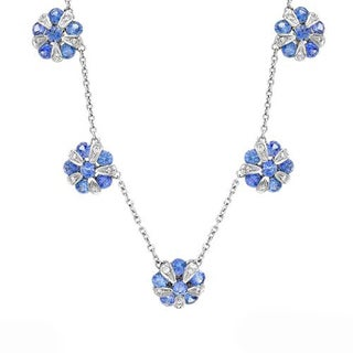 Favero Necklace with 2.7ct TW Diamonds and Sapphires in 18K White Gold